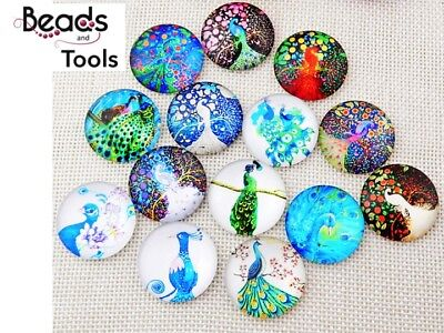 12mm Cabochon - Peacock - Flat Back Glue on Cabochon - BEADS AND TOOLS