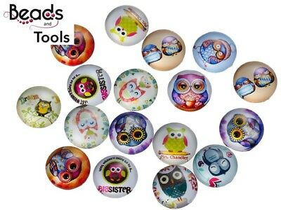 12mm Cabochon - Owl - Flat Back Glue on Cabochon - BEADS AND TOOLS