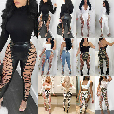 USA Sexy Womens Lace UP Hollow Out Pants High Waist Skinny Bandage Club Trousers