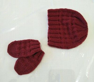 Baby Girl/Boy Maroon Knit Hat/Beanie & Mitten Set 3-6mths Other sizes &col avail