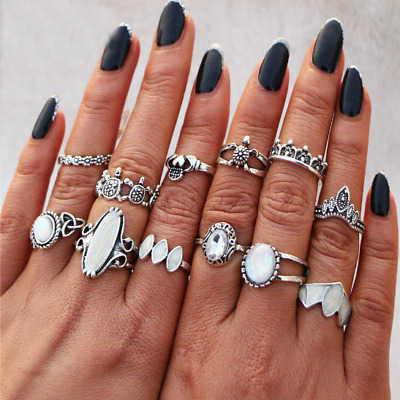 12PCS Boho Rings With Natural Opal Stone Women Silver Summer Beach Accessories