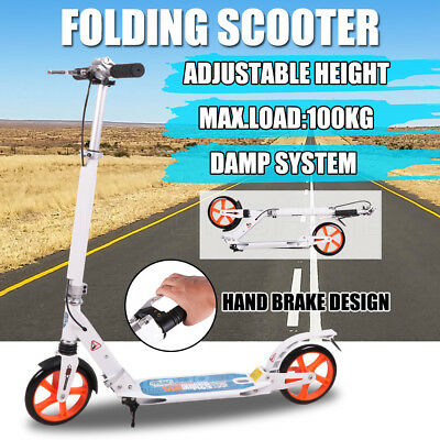 Push Scooter 200mm Big Wheel Suspension Scooter Hand Brake Adult Kids Commuter