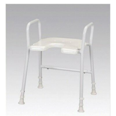 Aluminium Shower Stool Chair With Arms - Height Adjustable Bath Seat, Max 130kg