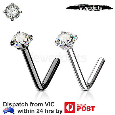 2-8PCS Nose Ring Stud L Shaped Surgical Steel Piercing CZ Gem Body Jewellery