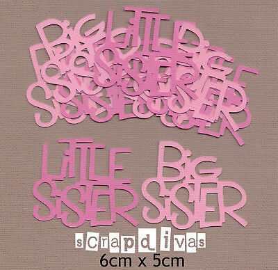 Scrapbooking Words - LITTLE SISTER - BIG SISTER - Die Cuts x 8