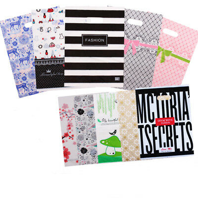 50x PLASTIC CARRIER BAG-Modern Printed Strong Gift Garment Cosmetic Shopping Bag