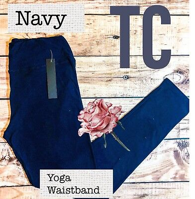 PLUS Size Buttery Soft Solid Navy Leggings TC 12-18 Yoga Waistband NWT