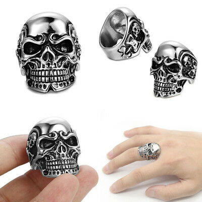 Hot Men Gothic Skull Heads Ring Biker Band Rock Punk Rings Size 8-11
