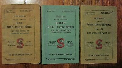 3 Vintage Singer Sewing Machines Instructions Booklets
