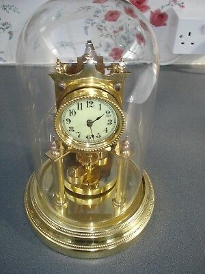 Antique Angemeldet Torsion Clock Disk Pendulum Small Dial 400 Day Anniversary