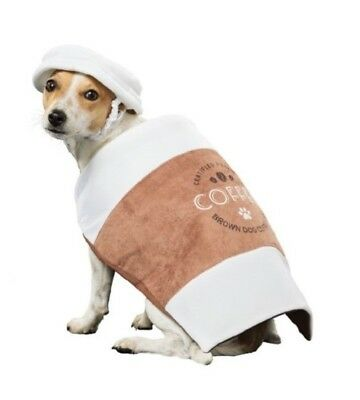 US Comedy Dog Costume Coffee Cup Latte Takeaway Fancy Dress Outfit & Hat