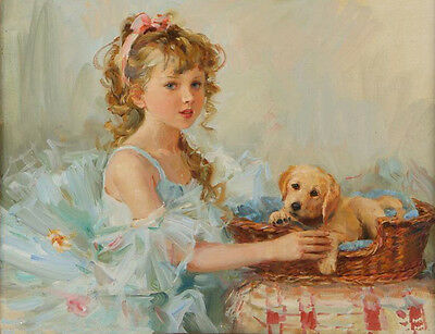ZWPT389 modern % hand-painted lovely girl & dog wall art oil painting on canvas