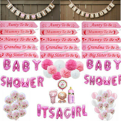 GIRL PINK Baby Shower Bunting Banner Photo Booth Props Balloons Sashes Pompoms