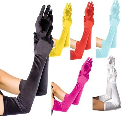 Leg Avenue Extra Long Opera Satin Evening Gloves In 7 Colours One Size