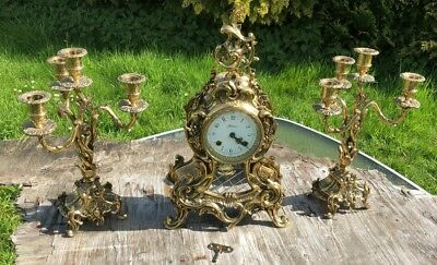 Antique Vintage Hermle Three Pieces Brass Set Clock Mantel and Candlesticks
