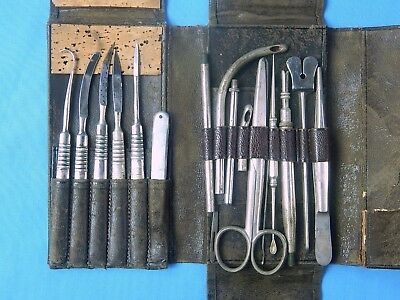 Antique Old Medical Surgical Tool Instrument Scissors Scalpel Needle Set w/ Case