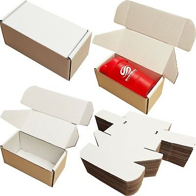 "8x4x4"" WHITE SHIPPING BOXES CARDBOARD POSTAL MAILING GIFT PACKET SMALL PARCEL"