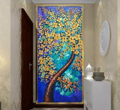 YA134 Modern art deco Hand-painted oil Painting Peacock tree No Frame 24*48in
