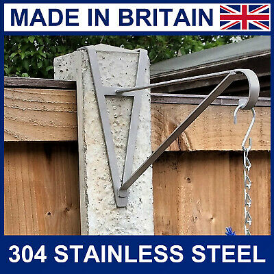 "4"" Concrete fence post stainless steel hanging basket bracket up to 16"" basket"