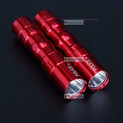 2Pcs 3W Police Waterproof Ultra Bright LED Mini Flashlight Torch Camping Red BT