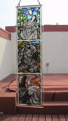 "Stained Glass 4.1/2"" X 16"" Wolf Bear Eagle Window Panel With Chain"