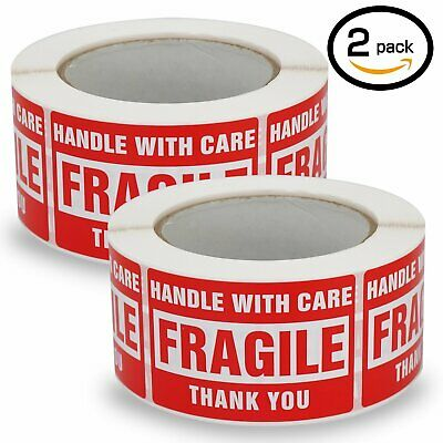 2 Rolls 3x5 Fragile Stickers Handle With Care Thank You Shipping Labels 500/Roll