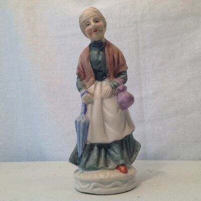 Vintage Old Woman Figurine With Purse And Umbrella