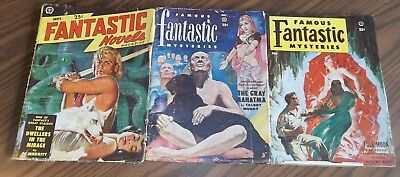 Vintage LOT Of 3 SCIENCE FICTION PULPS Famous Fantastic Mysteries 1949-1953
