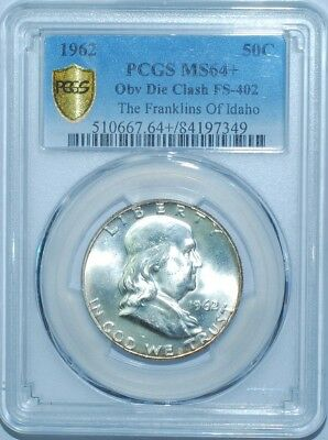 1962 PCGS MS64+ FS-402 Obverse Die Clash Franklin Half Dollar