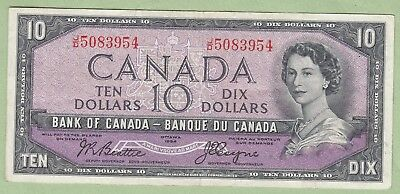 1954 Bank of Canada 10 Dollar Note Devil's Face- Beattie/Coyne - J/D5083954 - VF