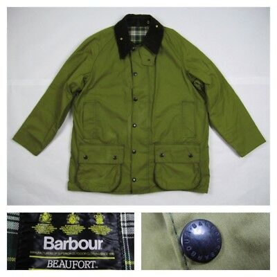 Barbour Classic Beaufort England Waxed Cotton Jacket Coat Large A150 C44 112CM
