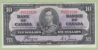 1937 Bank of Canada 10 Dollar Note - Coyne/Towers - B/T5512830 - EF