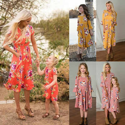 Mother and Daughter Matching Floral Long Dress Women Girls Family Clothes Outfit