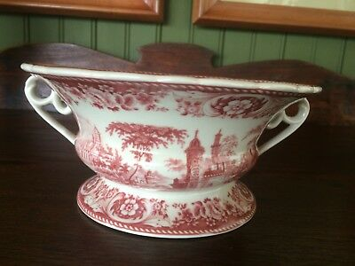 Red Transferware Footed Bowl