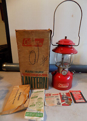 Rare Vintage 10/ 1969 Coleman Red 200A Oil Lantern W/box Papers One Mantle *nr*