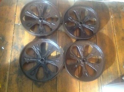 "Wilmot cast iron wheels set of 4 12"" shepherds hut free UK postage"