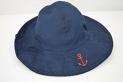 Pottery Barn Baby Reversible Sun Hat Blue Red Nautical Size 3-6 Months New