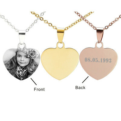 Personalized Custom Women Heart Charm Pendant Necklace Silver Rose Gold Tone