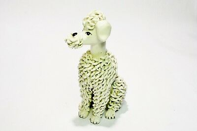 Ceramic Poodle Made In Italy White Spaghetti Porcelain Schnauzer Dog 1950s