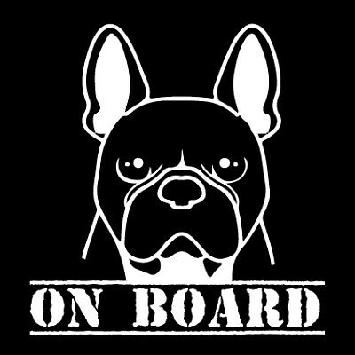 FRENCH BULLDOG ON BOARD  Dog sticker decal in white popular