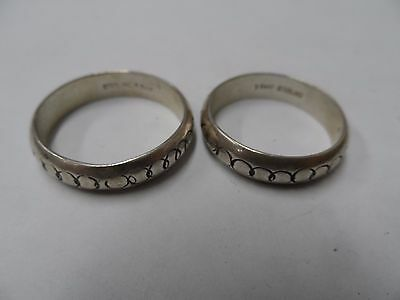 pair of vintage mens sterling ring bands hallmarked t-bear
