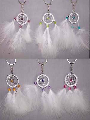Native Pride Tribal Dream Catcher Key Chains White Feathers 6Pc Lot (NPDC222 ^*)