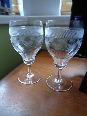 Pair Antique Edwardian Hock /Water Goblets Glasses Swags Cross Hatch