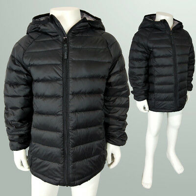 Unisex Girl Boy Puffer Black Windbreaker Hoodie Down Jacket AU Size 2-14