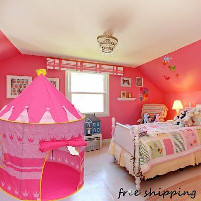 Portable Pink Pop Up Play Tent Kids Girl Princess Castle Outdoor Play House FunV