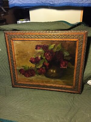 Beautiful Roses Still Life Oil On Canvas Painting Exceptional Antique Frame