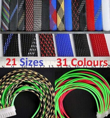 31 Colours 3 -100mm Expandable Braided Sleeving Cable Harness Wire Sheathing PET