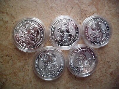 5 x 2 oz Queen`s Beast Lion Griffin Dragon Unicorn Bull in Kapseln