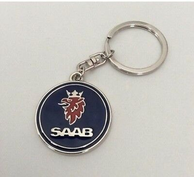 Saab Metal Chrome Style Keyring Key Ring Keychain Stylish 93 95 9-3 9-5 9000
