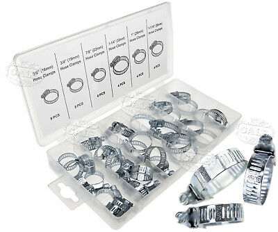 34Pc Hose Clamps Set Adjustable Fuel Line Petrol Pipe Clips Stainless 6 Sizes AU